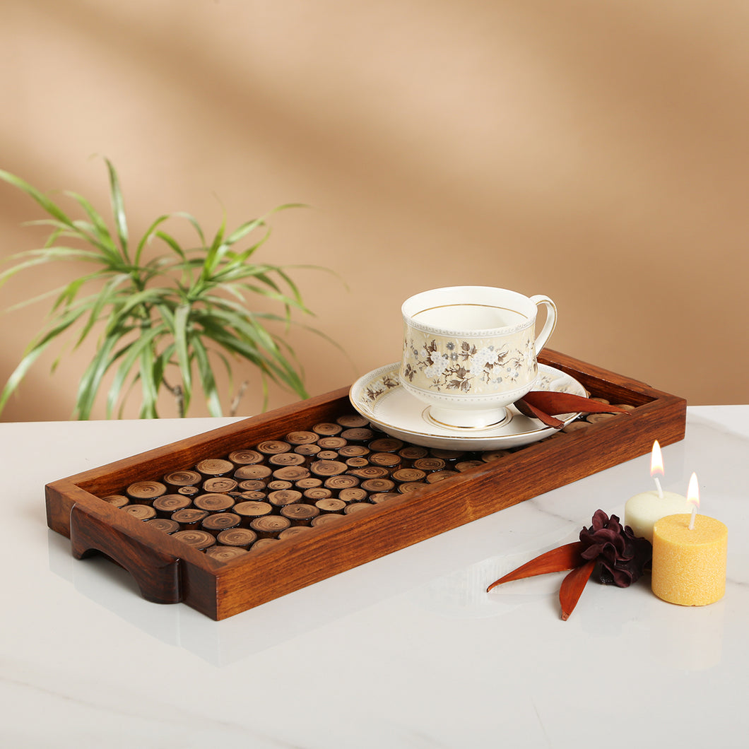 Wooden Cut Pieces Serving Tray- navvi.in
