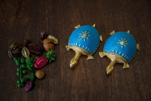 Dhokra Tortoise Table Top Set- Sky Blue - Navvi Lifestyle