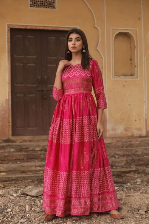 gown,pink gown,women gown, fasahion,ethnic fashion,women collection,online fashion,gown for parties, gowns for wedding,bride to be,bride collection,madras silk,madras silk gown,navvi,navvi.in