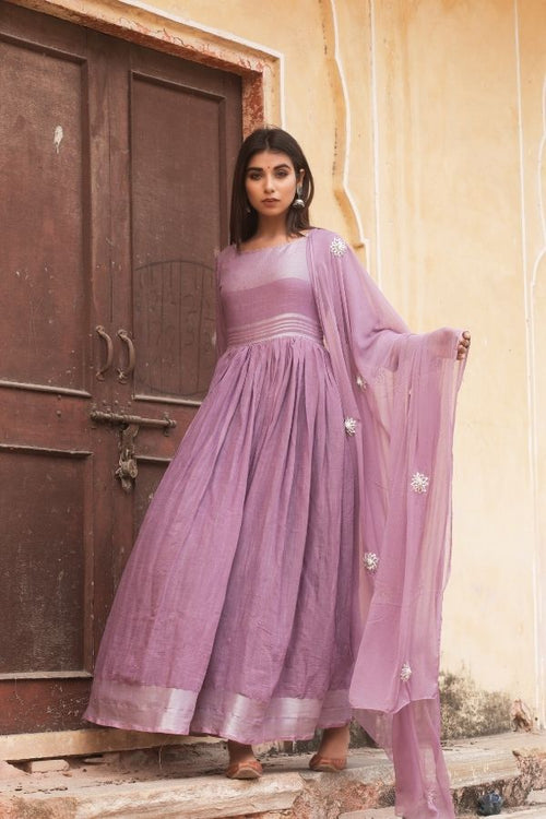 gown,purple gown set,women gown, fasahion,ethnic fashion,women collection,online fashion,gown for parties, gowns for wedding,bride to be,bride collection,madras silk,madras silk gown,navvi,navvi.in