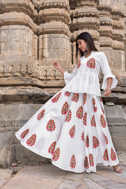 Block Printed White Lehenga Set - Navvi Lifestyle