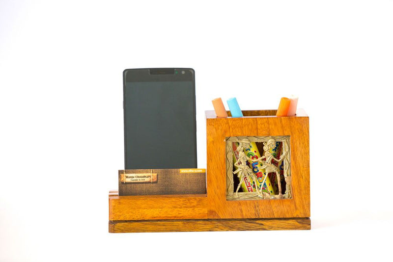 Mango Wood Pen Stand With Card & Mobile Holder - Navvi Lifestyle