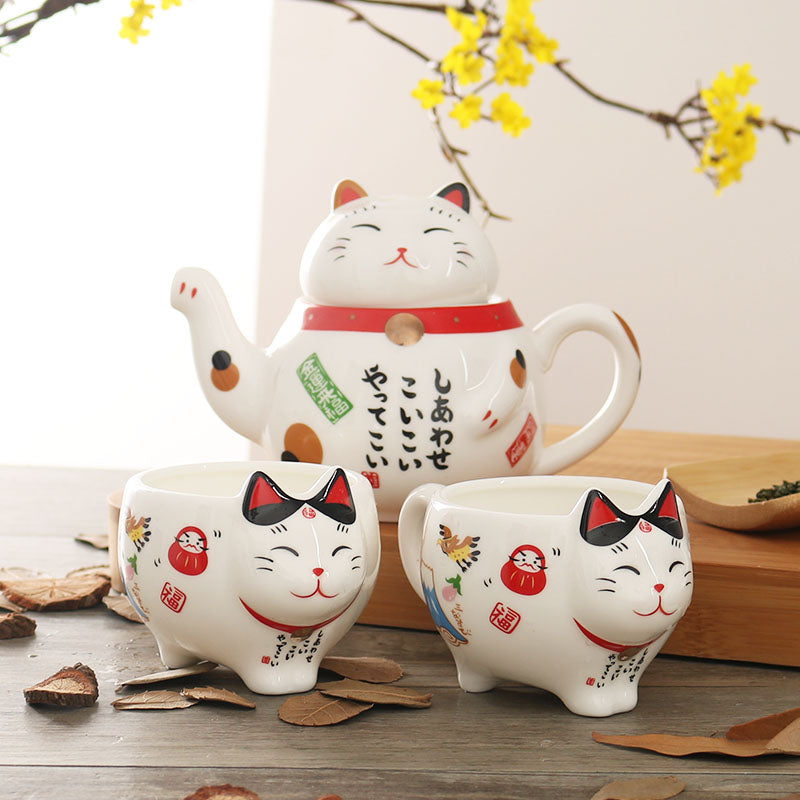 Kawaii Maneki Neko (Japanese Lucky Cat) Tea Set Made in Porcelain