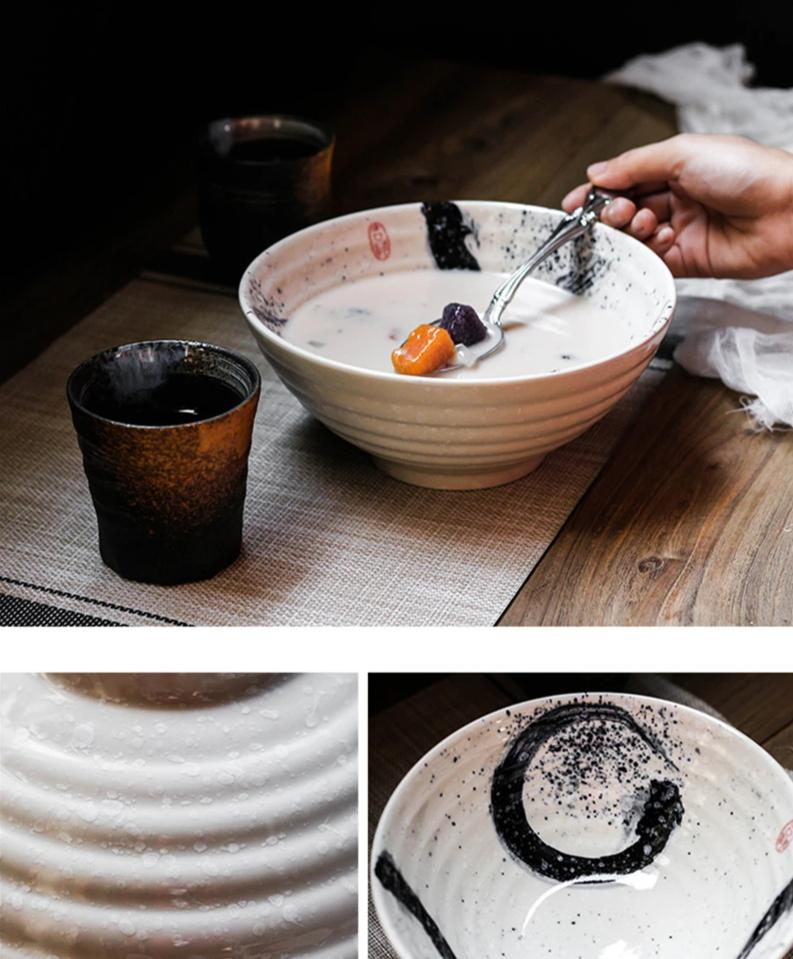 2 Beautiful Japanese Traditional Ramen Bowls Made In Ceramic