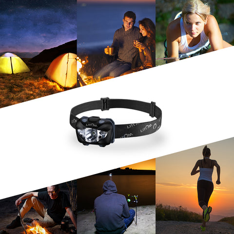 Lumens White/Red LED Headlamp Flashlight with Gesture Control Waterproof