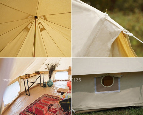 Waterproof Bell Tent Diameter 5m Outdoor Sibley Glamping Tent with Chimney Hole