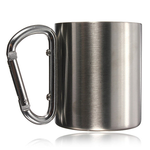 Hot Sale Portable Stainless Steel Mug Camping Cup Carabiner Double Wall Comfortable For Travelling And Climbing Outdoor Tools