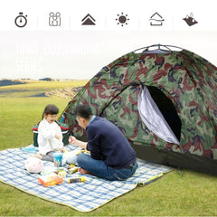Outdoor Portable Single Layer Camping Tent Wigwam Camouflage 2 Person