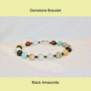 Black Amazonite & Hematite Brown Plated Bracelet