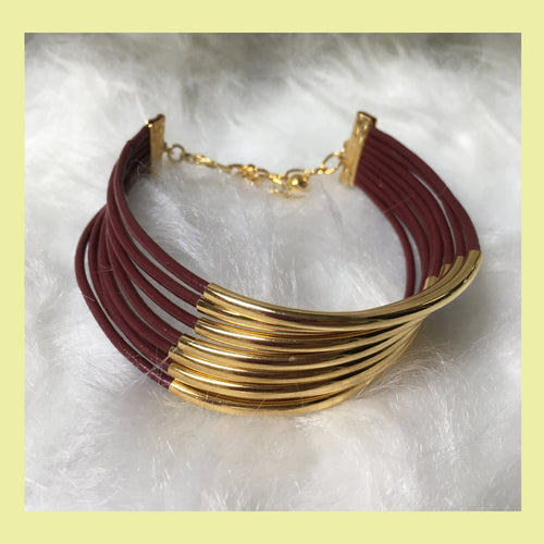 8 Strand Garnet Leather & Gold Tone Bracelet (show your Team Spirit!)