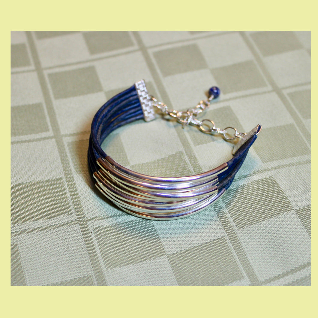 8-Strand Denim Leather with Silver Tone Adjustable Bracelet