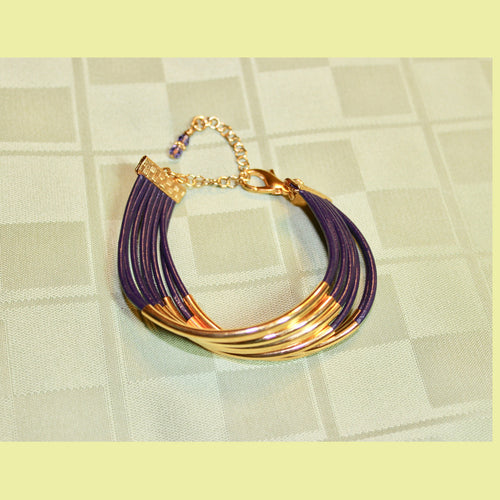 8-Strand Purple Leather with Gold Tone Bracelet (show your Team Spirit)