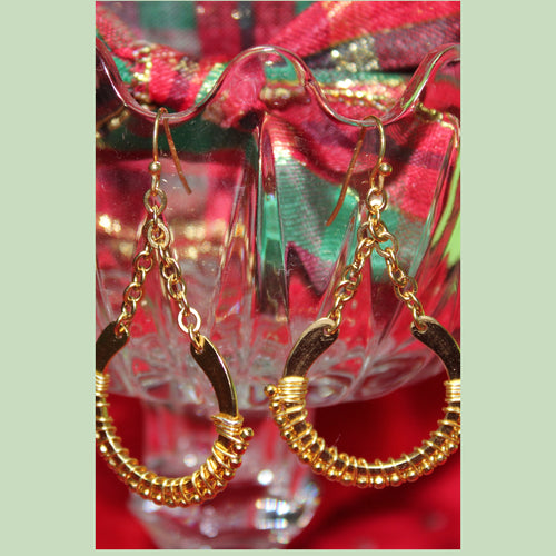 Crescent Wire Wrapped Gold Plated Earrings