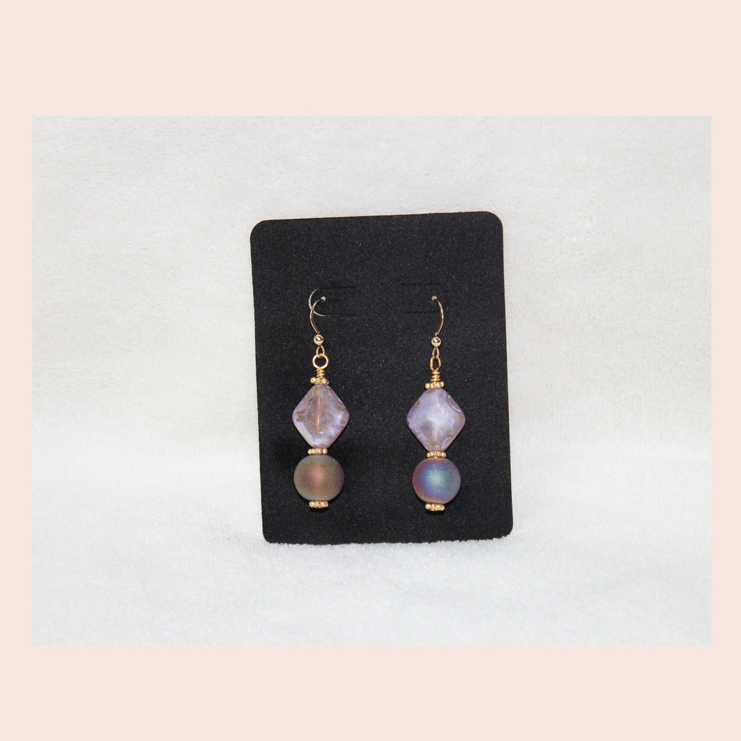 Purple and Gold Plated Earrings