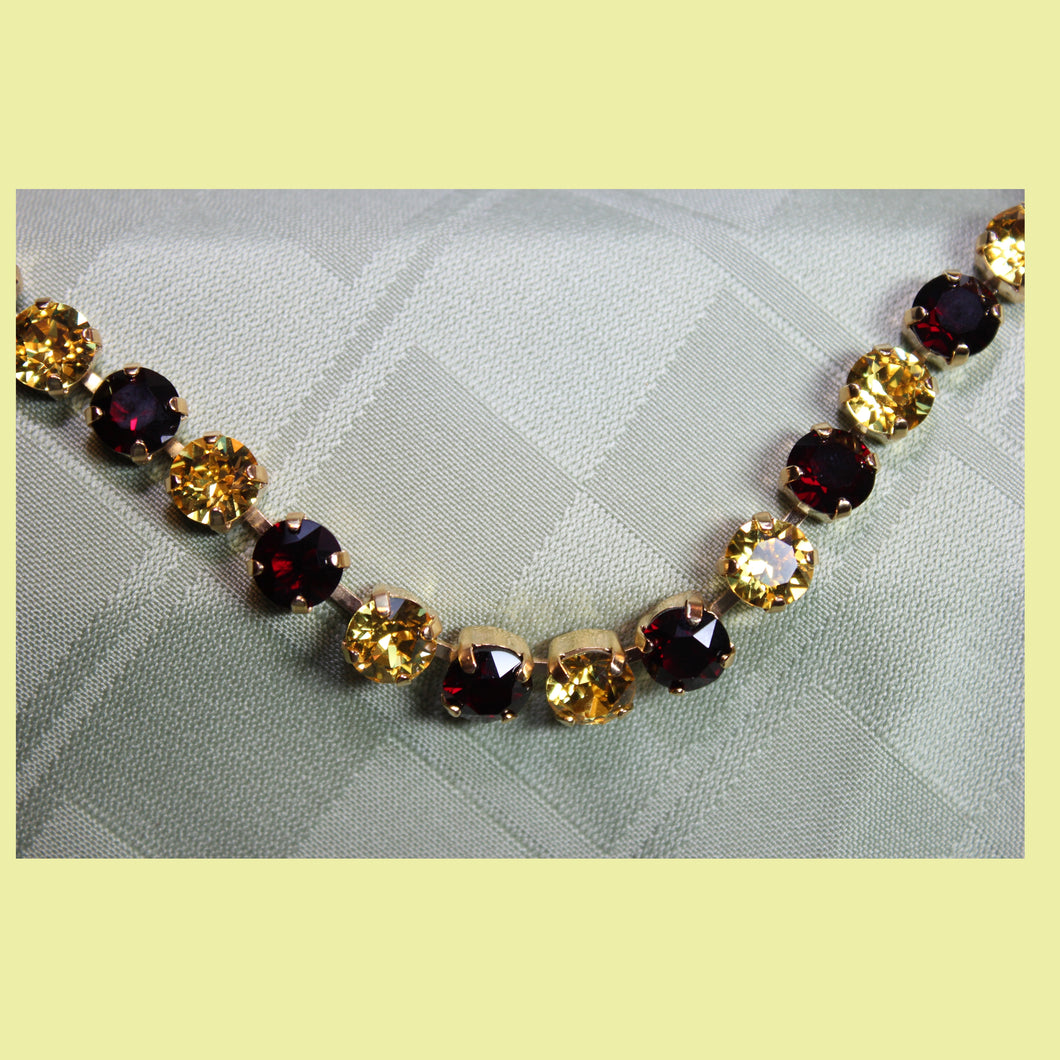Garnet & Gold Swarovski Necklace (show your Team Spirit)