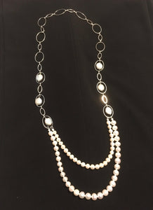 Pearls & Silver Tone Link Necklace