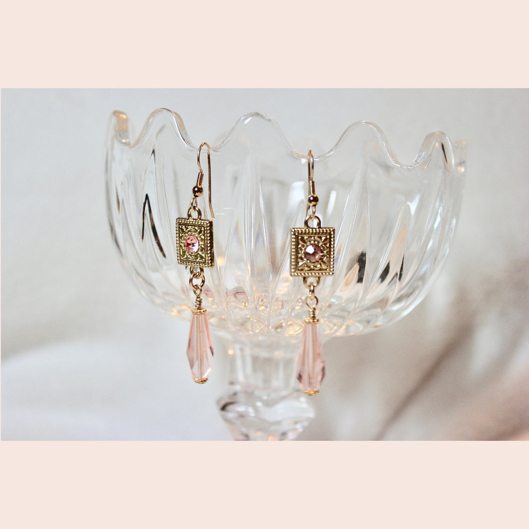 Gold Earrings with Pink Crystal Drops