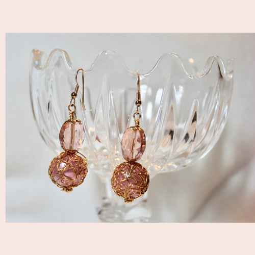 Pink with Gold Wire Wrap Earrings