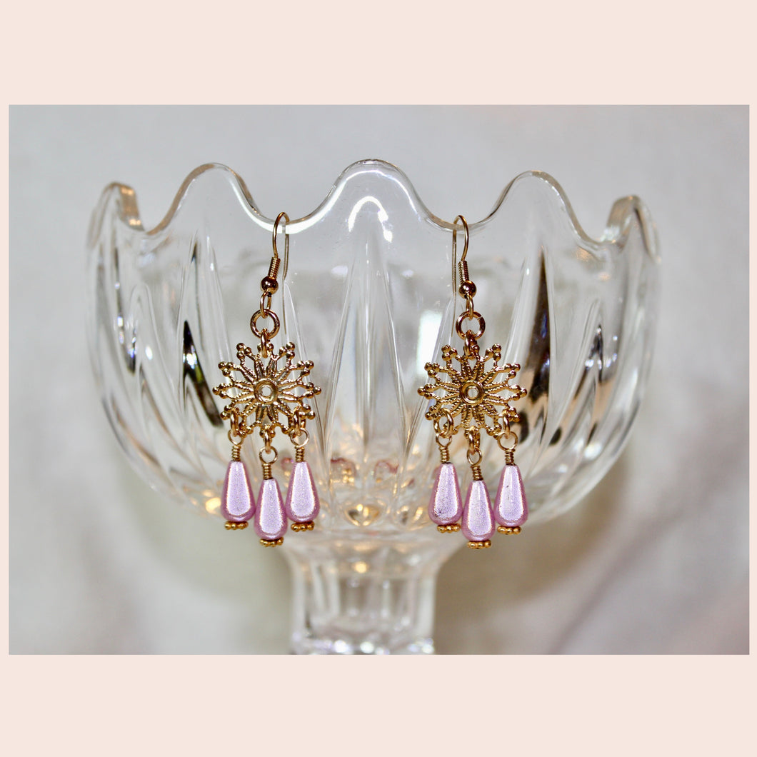 Snowflake & Pink Drop Earrings