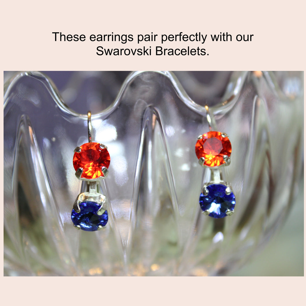 Orange & Blue Swarovski Earrings (show your Team Spirit)