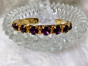 Purple Swarovski Gold Overlay Cuff Bracelet (show your Team Spirit)