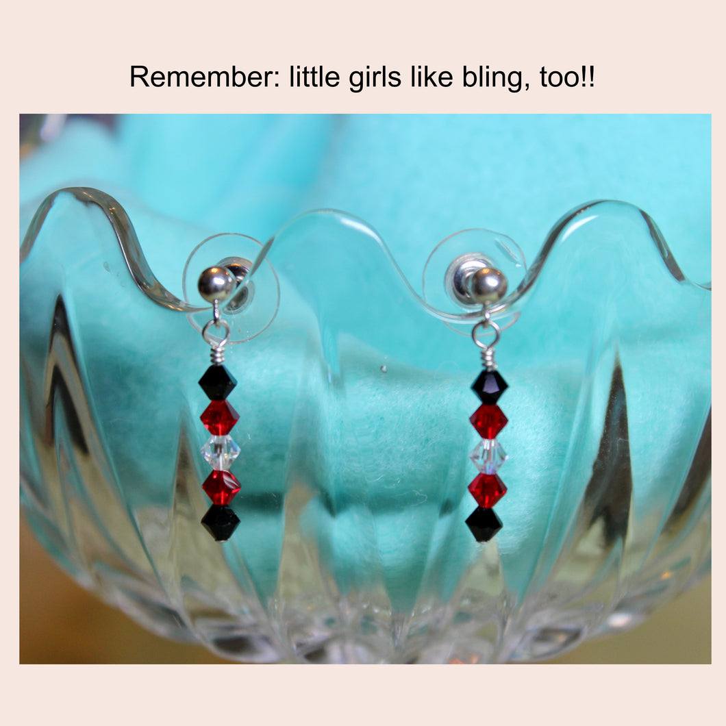 Red, Black & Crystal Earrings (show your Team Spirit)