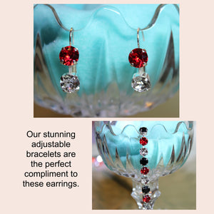 Red & Crystal Swarovski Earrings (show your Team Spirit)