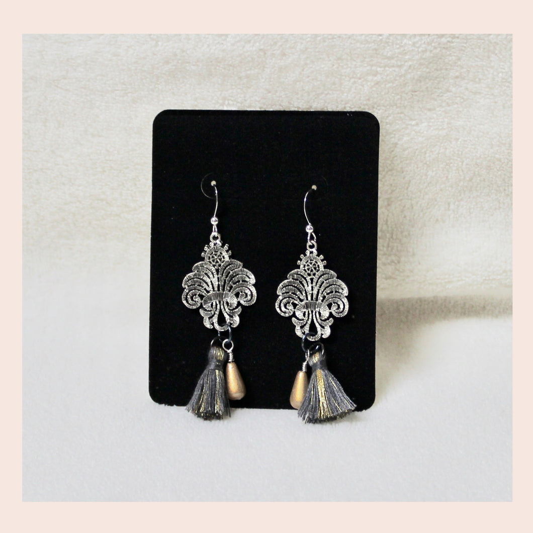 Silver Filigree & Tassel Earrings
