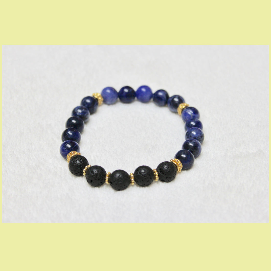 Sodalite, Lava & Gold Stretch Bracelet