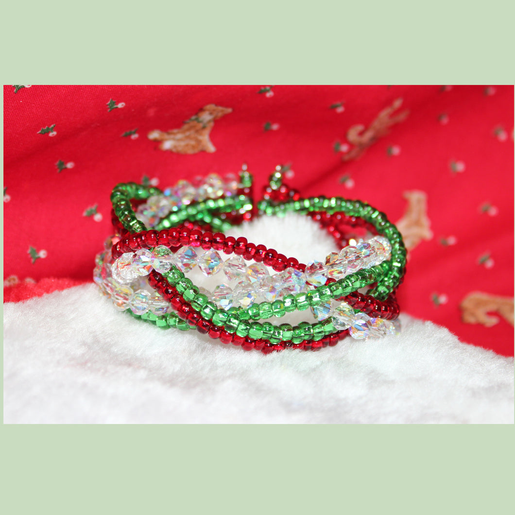 Swarovski Crystal AB and Seed Bead Braided Christmas Cuff Bracelet
