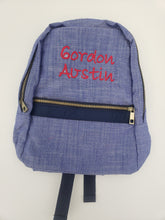 Load image into Gallery viewer, Small Knapsack Navy Chambray