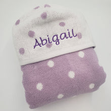 Hooded Towel - Purple Polka Dots