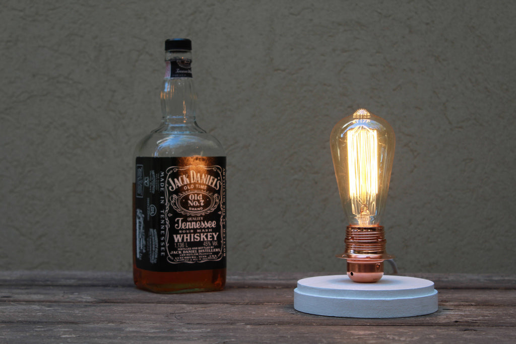 White bell Jar dome Edison table lamp bedside lamp