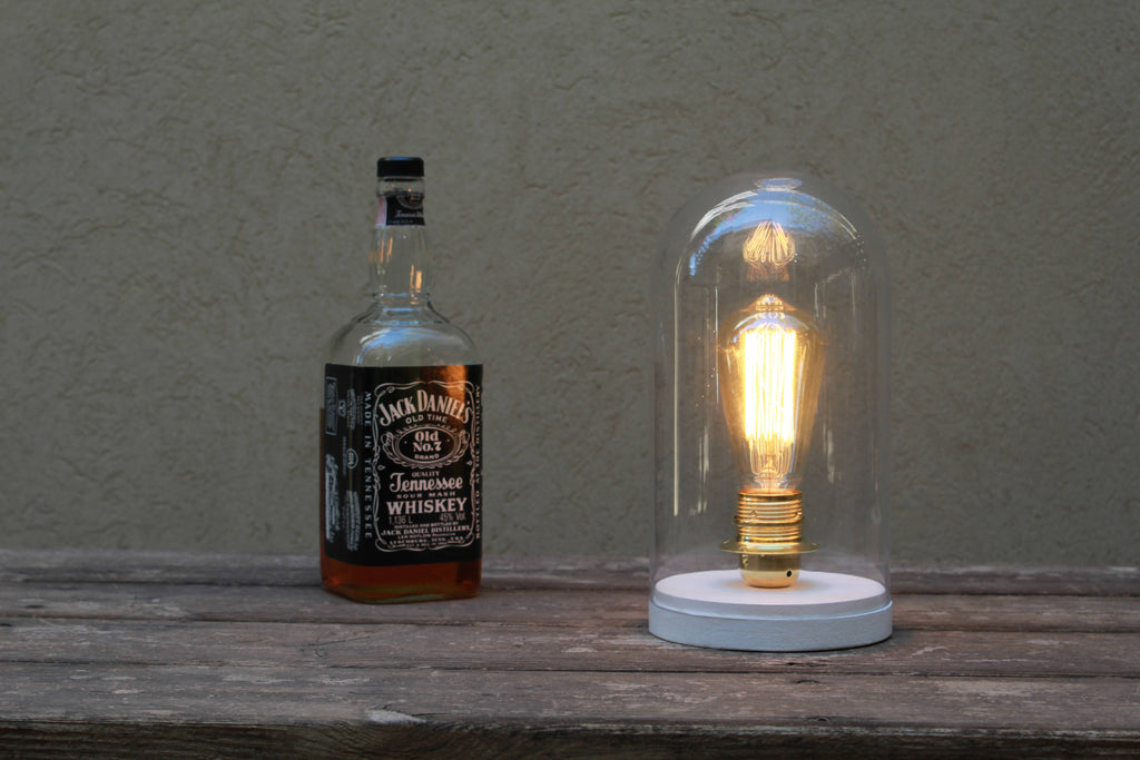 White Gold Bell Jar Edison vintage style Table lamp