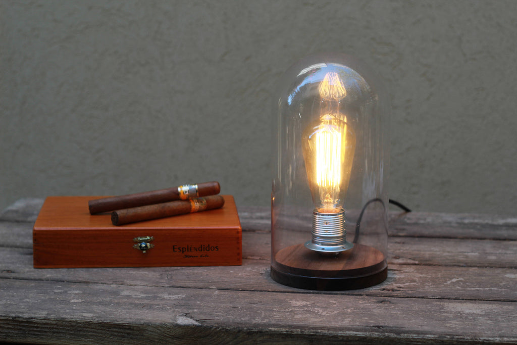 Bell jar dome Edison table lamp bedside lamp