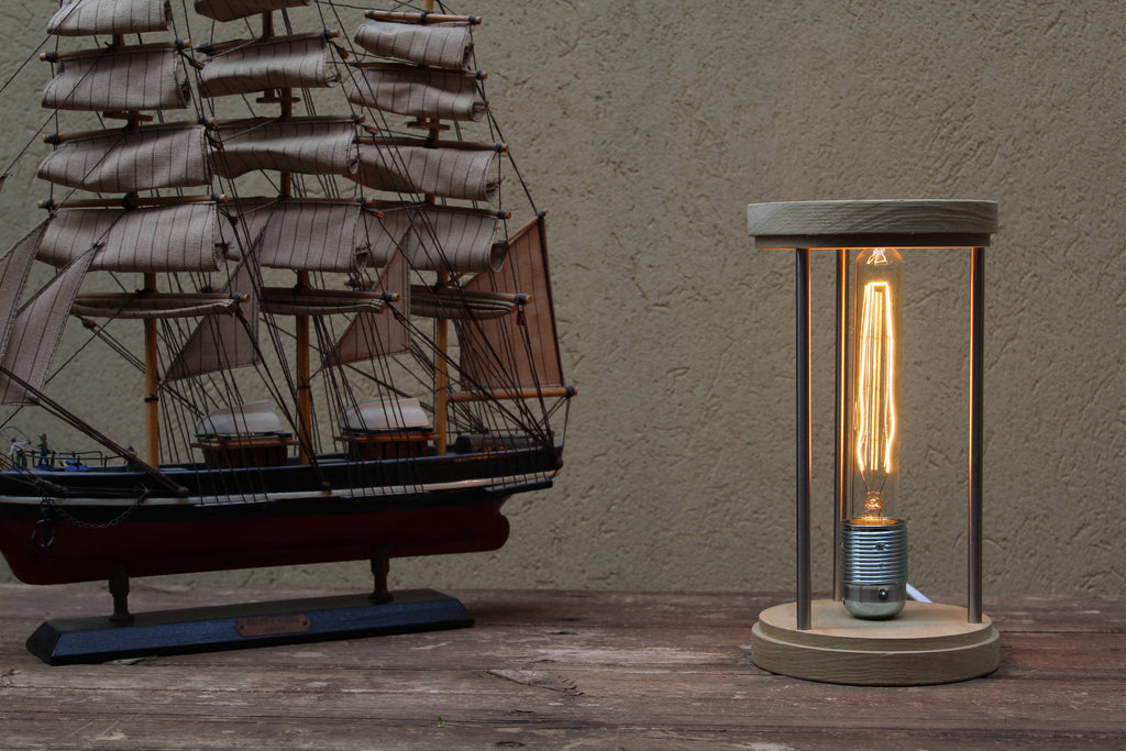 SandWatch Industrial Edison Table Lamp - Natural Wood