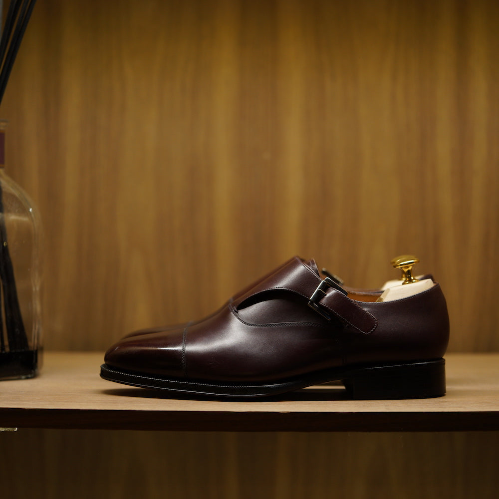 SPECIAL - Yanko Single Monk Strap in Burgundy Box Calf