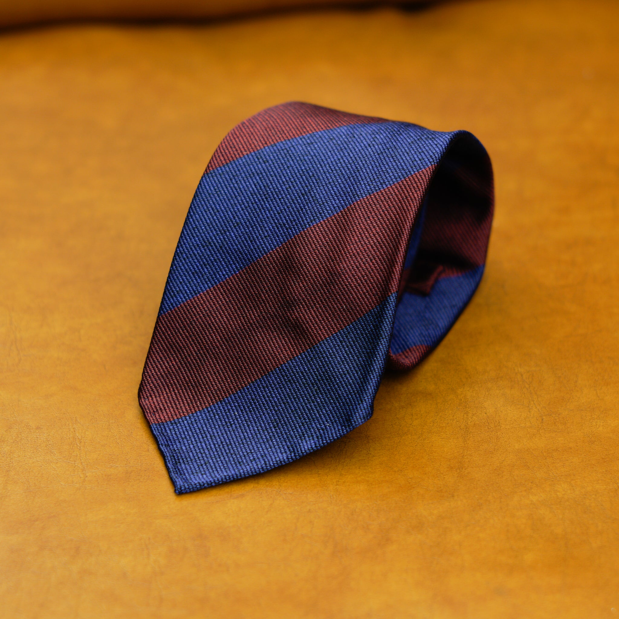 Mementomori Burgundy & Navy Block Stripe Silk Cotton Tie