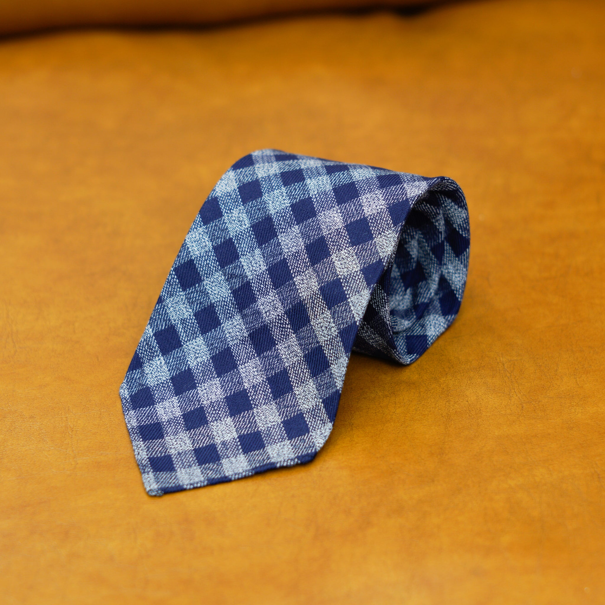 Mementomori Blue Checks Cotton Tie