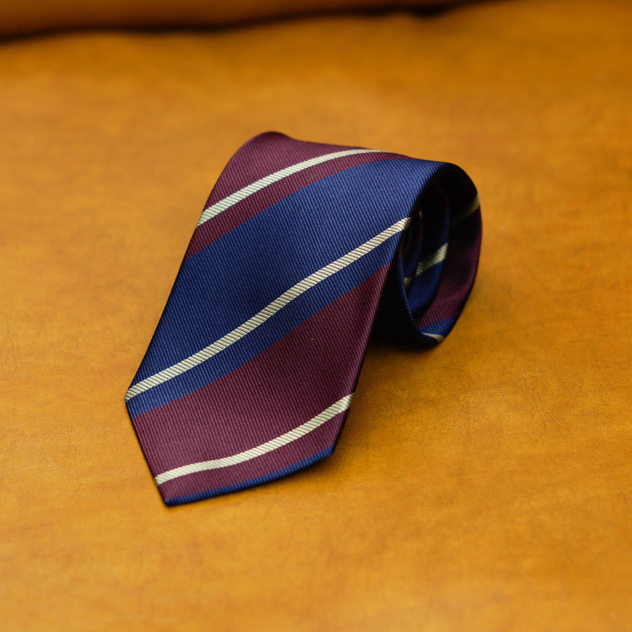 Mementomori Midnight Blue Burgundy Block Stripe w/ gold stripe Silk Tie