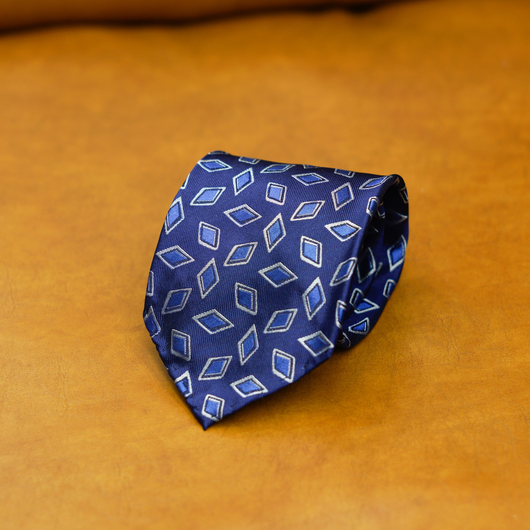 Mementomori Midnight Blue Rhombus Silk Tie