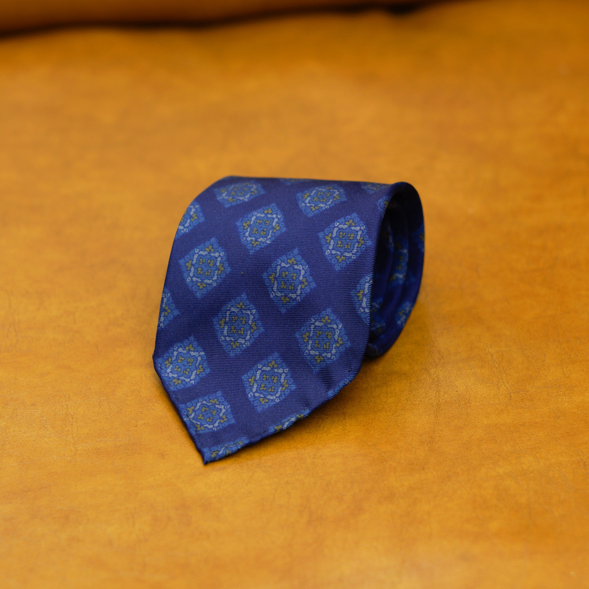 Mementomori Persian Blue Diamond Motif Silk Tie