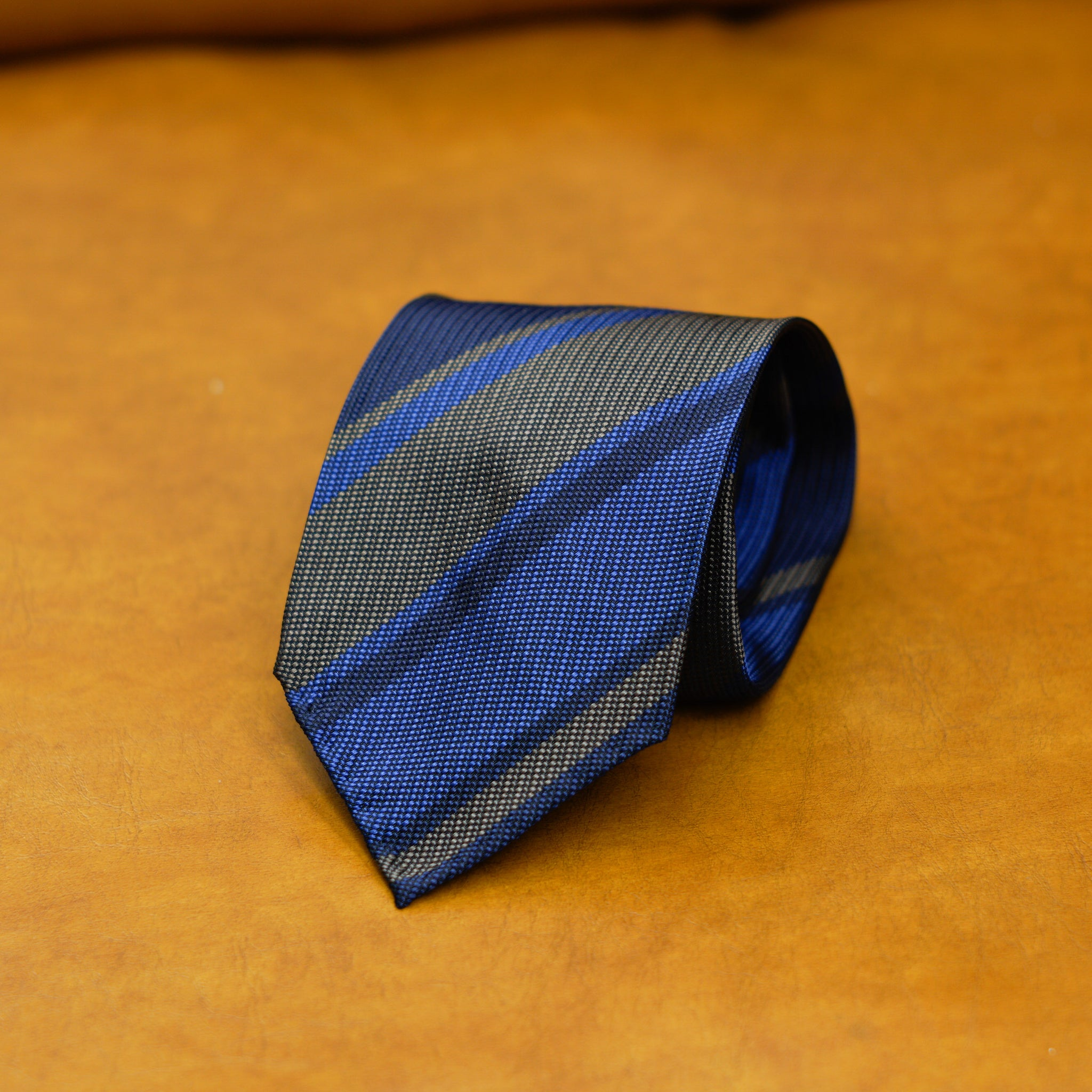 Mementomori Blue Navy Chocolate Block Stripe Silk Tie