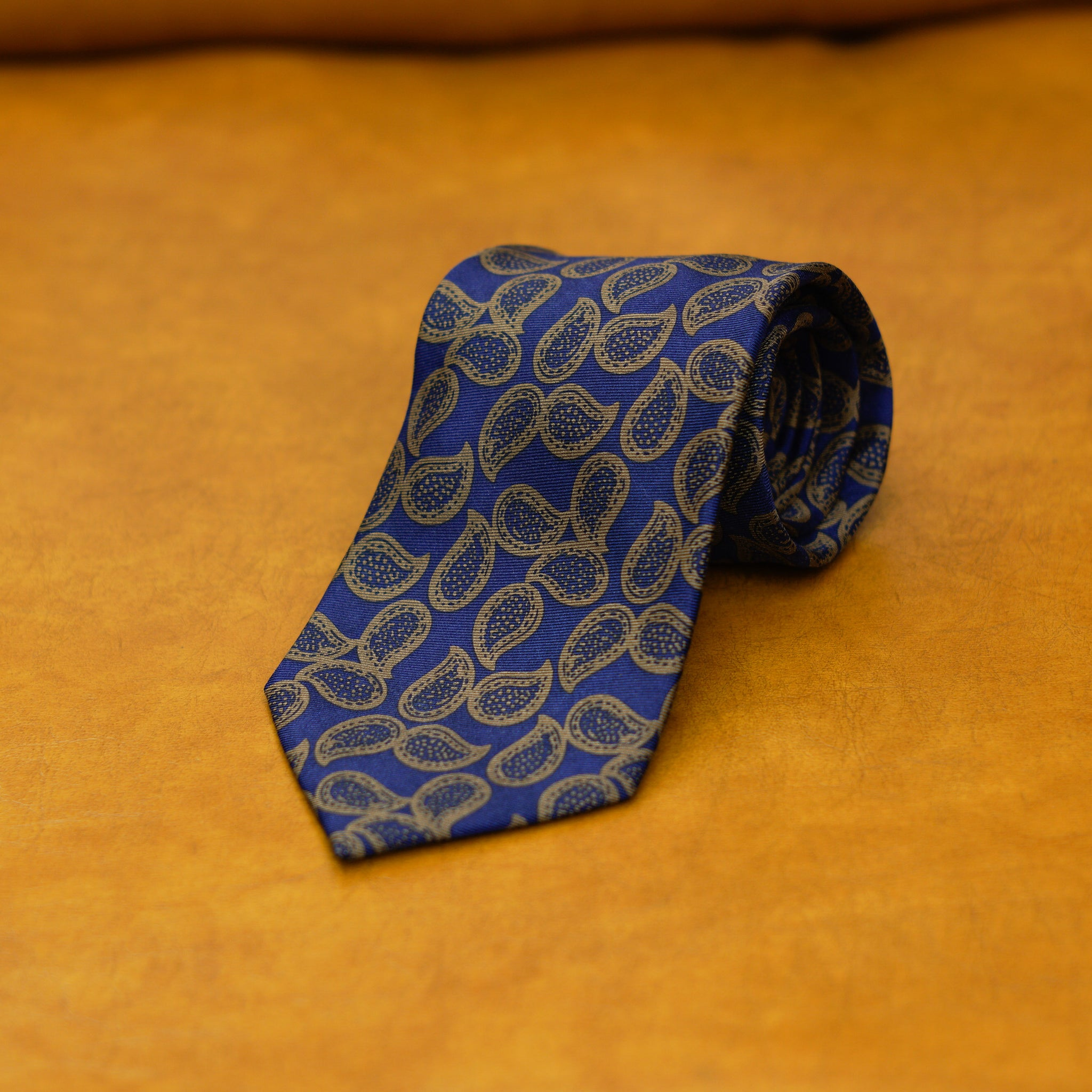 Mementomori Navy Brown Paisley Silk Tie