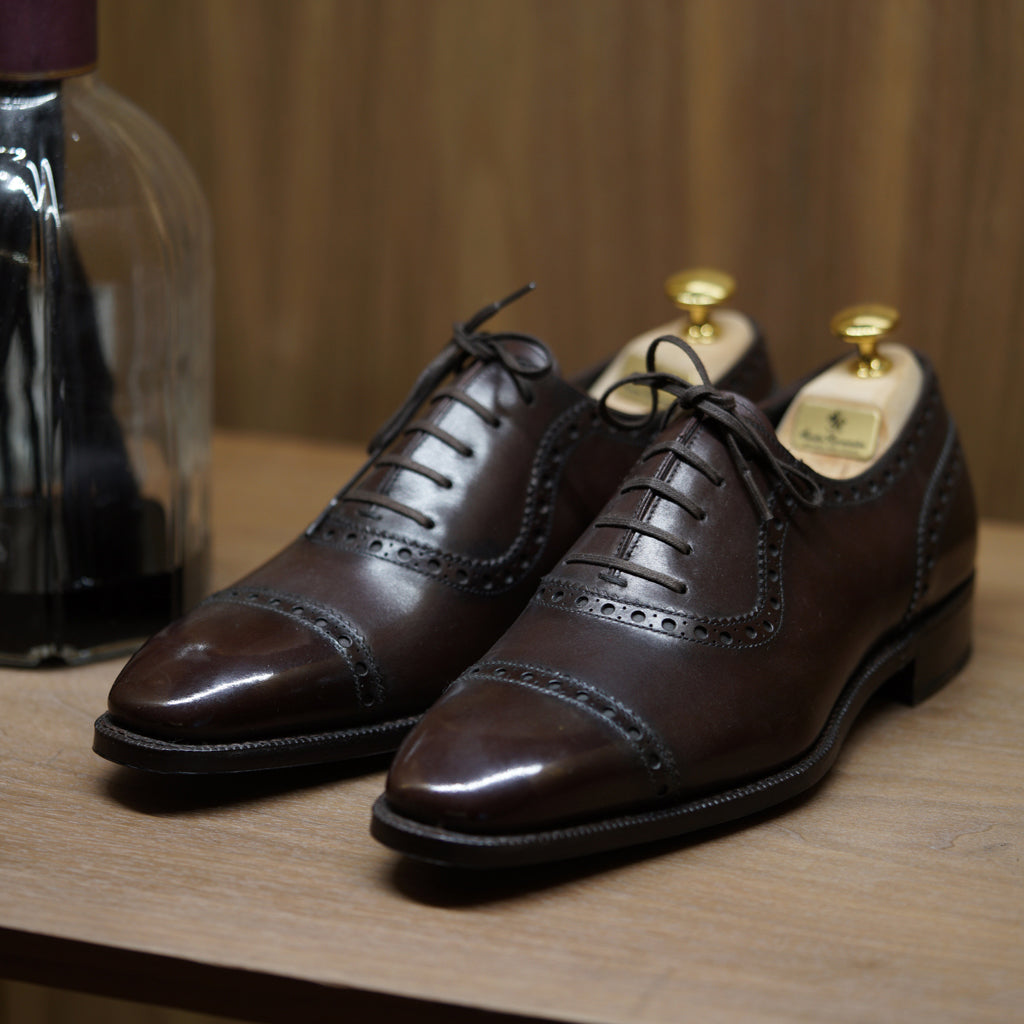 SPECIAL - Norman Vilalta Oxford 3 No.5 Collection in Dark Brown Patina Box Calf