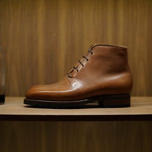 Zonkey Boot Wholecut Derby Boot in Cacao Mediceo Grain Calf
