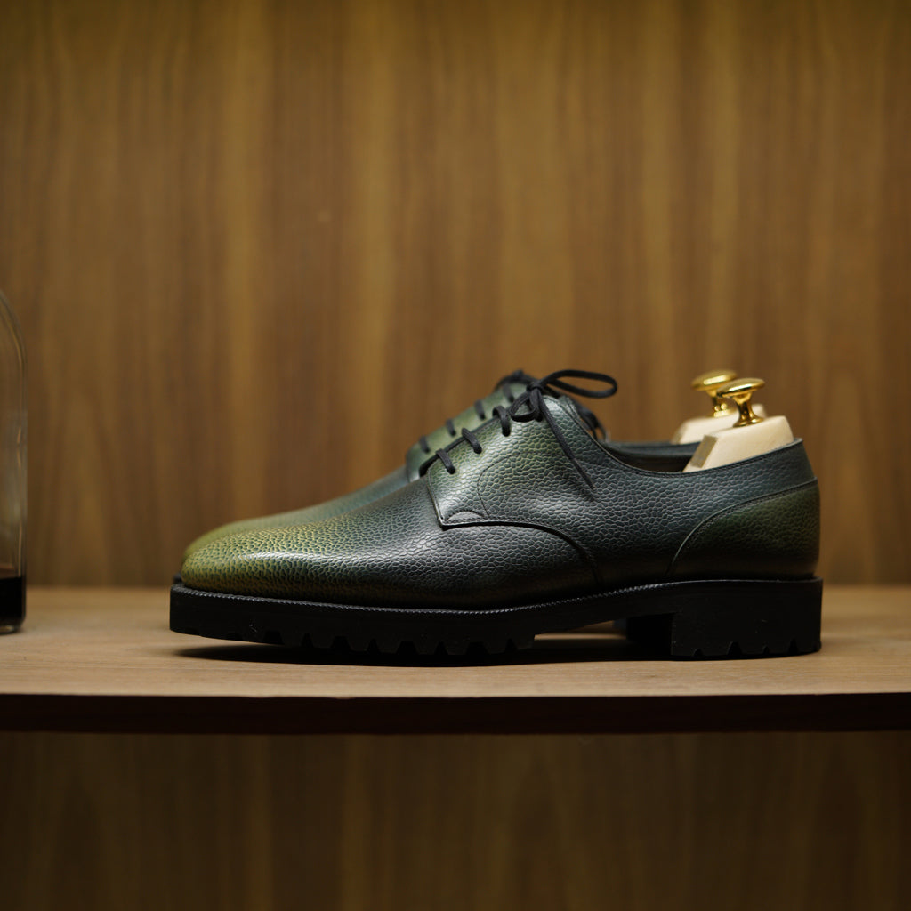 SPECIAL - Norman Vilalta Derby Simple in Green 3D Patina Grain Calf