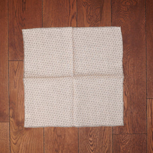 Paolo Albizzati White with Grey Dots Printed Linen Pocket Square