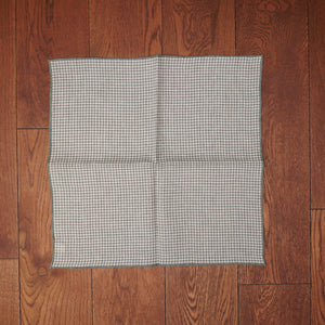 Paolo Albizzati Green Houndstooth Printed Linen Pocket Square