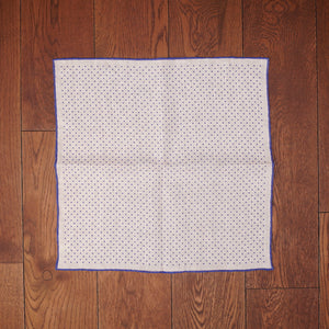 Paolo Albizzati White with Blue Dots Printed Linen Pocket Square